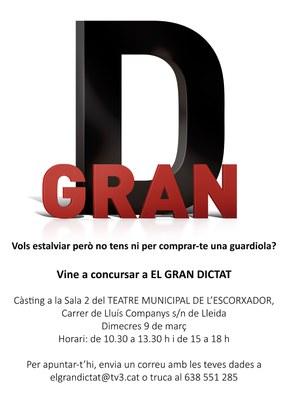 """""""EL GRAN DICTAT"""" BUSCA NOUS CONCURSANTS A LLEIDA"""