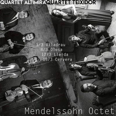 """""""L'Octet de Mendelssohn"""", amb la fusió del Quartet Teixidor i el Quartet Altimira, a l'Auditori Municipal Enric Granados"""