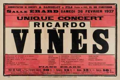 "Avui s'inaugura l'exposició ""Ricard Viñes en concert (1898-1928): 30 anys de cartellisme""a París"
