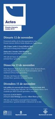 Avui s'inicia la setmana cultural a Lleida amb els Premis Literaris 2019