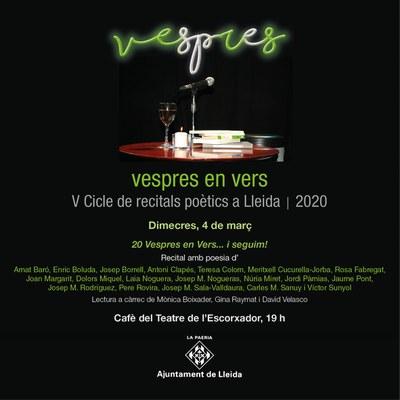 Celebrem els 5 anys de trajecte del Vespres en vers. Recitals poètics a Lleida, amb una sessió especial .