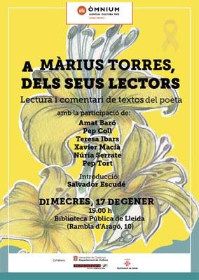 """Com a cloenda de l'Any Màrius Torres: """"A Màrius Torres, dels seus lectors"""""""