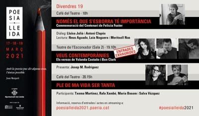 El Poesia Lleida 2021 clou avui amb un homenatge i dos recitals