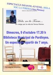 """La biblioteca municipal de Pardinyes acull l'espectacle """"Hola, sóc la Teresa...un viatge per la vida de Teresa Pàmies"""""""