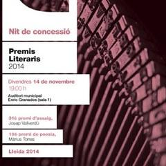 Premis Literaris 2014 : 31è Premi d'assaig Josep Vallverdú i 19è Premi de poesia Màrius Torres