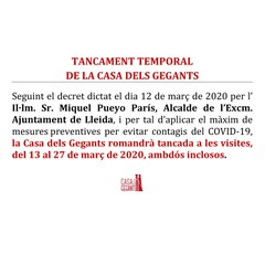 TANCAMENT TEMPORAL DE LA CASA DELS GEGANTS