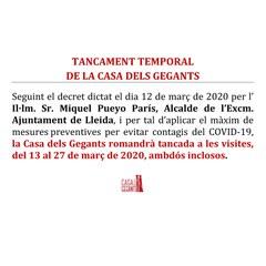 """CIERRE TEMPORAL DE LA """"CASA DELS GEGANTS"""""""